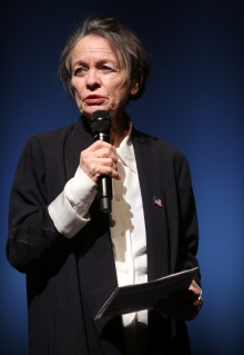 """Laurie Anderson performing """"The Language of the Future"""" at transmediale 2017 ever elusive."""