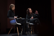 "Elvia Wilk (left) in conversation with Joanna Zylinska (right) at the talk ""Nonhuman Photography: Dispatches from the End of the World"", transmediale 2017."