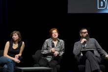 "Anaïs Héraud, Diane Torr and Francesco WARBEAR Macarone Palmieri at ""BWPWAP Desire Eier Haben"", transmediale 2013 BWPWAP."
