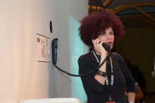 "Diana McCarthy operating the ""OCTO P7C-1 Intertubular Pneumatic Packet Distribution System"", transmediale 2013 BWPWAP."