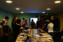 """Impression of the workshop """"Building Local Autonomy Networks"""", transmediale 2013 BWPWAP."""