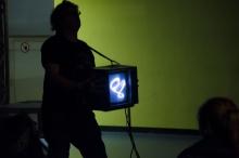 """de/Rastra"", performance by Kyle Evans, transmediale 2013 BWPWAP."