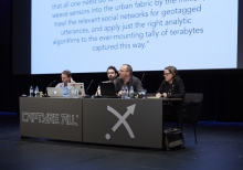 "Picture of Ryan Bishop, Tobias Revell, Stephen Graham and Sarah Kember (left to right) at ""Predict & Command Cities of Smart Control"""