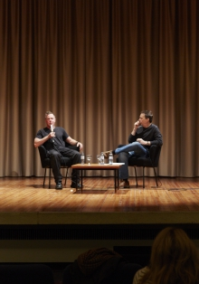 "Picture of Jordan Crandall (left) in conversation with Ryan Bishop (right) after the performance ""Materialities of the Robotic"""