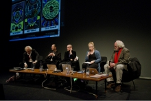 "Siegfried Zielinski, Wolfgang Ernst, Jussi Parikka, Inke Arns and Timothy Druckrey (left to right) at ""Search for a Method"", transmediale 2012"