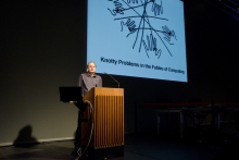 """Matthew Fuller at the keynote """"Knotty Problems in the Fables of Computing"""", transmediale 2012"""