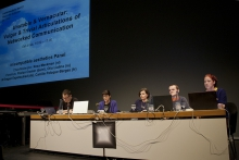 "Florian Cramer, Camille Paloque-Berges, Olia Lialina, Dragan Espenschied, and Rosa Menkman (left to right) at ""Unstable and Vernacular: Vulgar and Trivial Articulations of Networked Communication"", transmediale 2012."