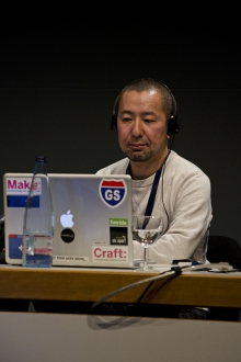 """Norifumi Ogawa at """"Publics in Crisis – Production, Regulation and Control of Publics"""", transmediale 2012 in/compatible."""