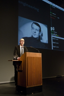 """Jussi Parrika introducing """"Uncorporated Subversion: Tactics, Glitches, Archeologies"""", transmediale 2012 in/compatible."""