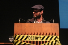 """Krystian Woznicki introducing the keynote """"The Incompatible Public is Occupied"""", transmediale 2012 in/compatible."""