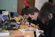 """Impression of """"Paperduino-Uno - A PaperPCB Workshop"""", transmediale 2012 in/compatible."""