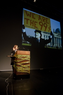 """Keynote by Jodi Dean: """"The Incompatible Public is Occupied"""", transmediale 2012 in/compatible."""