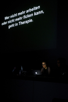 """Gabriella Coleman at """"Anonymous Codes: Disruption, Virality and the Lulz"""", transmediale 2012 in/compatible."""