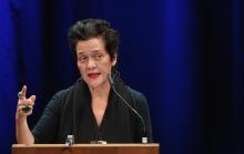 """Françoise Vergès delivering her keynote """"Politics of Forgetfulness"""" at transmediale 2018 face value"""
