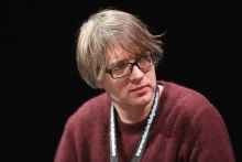 """David Blandy at the panel """"The Violent Imagination of Financial Capitalism"""" at transmediale 2018 face value."""