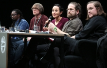 "Panelists at ""The Violent Imagination of Financial Capitalism"" at transmediale 2018 face value."