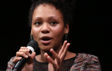 """Nelly Yaa Pinkrah at the panel """"The Weaponization of Language"""" at transmediale 2018 face value"""