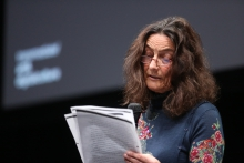 """Sybille Krämer at the panel """"The Weaponization of Language"""" at transmediale 2018 face value"""