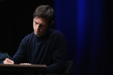 """Nick Thurston at the panel """"The Weaponization of Language"""" transmediale 2018 face value."""