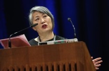 """Lisa Nakamura delivering her keynote """"Call Out, Protest, Speak Back"""""""