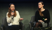 "Lisa Rave (left) in conversation with Femke Herregraven (right) during the panel ""Extracting (Hi)stories of Complicity"" at transmediale 2018 face value"