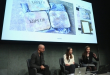 "Etienne Turpin, Lisa Rave, and Femke Herregraven (left to right) during the panel ""Extracting (Hi)stories of Complicity"" at transmediale 2018 face value."
