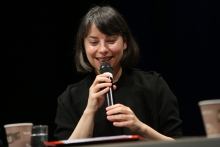 """Ana Teixeira Pinto during the panel """"Biased Futures"""" at transmediale 2018 face value."""