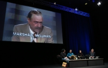 """Impression of the panel """"Confronting Social Cybernetics"""" at transmediale 2018 face value."""