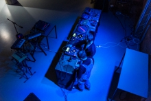"""Impression of """"The Supraliminal Café"""" during the transmediale 2018 opening night"""