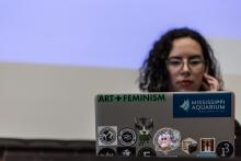 Caroline Sinders during the workshop Building a Feminist Data Set