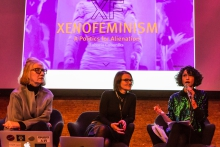Cornelia Sollfrank, Yvonne Volkart, and Isabel de Sena (left to right) during the book presentation The Beautiful Warriors. Techno-Feminist Practice in the 21st Century