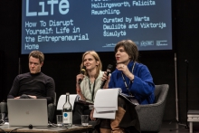 Julian Breinersdorfer, Viktorija Šiaulytė, and Marta Dauliūtė during the discussion How to Disrupt Yourself: Life in the Entrepreneurial Home