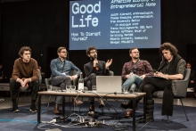 Travis Hollingsworth, Patrick Hoffmann, Edoardo Archetti, Thomas Stodulka, and Judith Albrecht (left to right) during the discussion How to Disrupt Yourself: Life in the Entrepreneurial Home