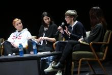 Johanna Bruckner, Rachel O'Dwyer, Marie-Luise Angerer, and Kei Kreutler during Exchange #4: Deplatformization and the Ethics of Exclusion