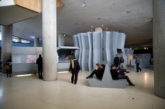 Foyer at Haus der Kulturen der Welt during transmediale.10 FUTURITY NOW!
