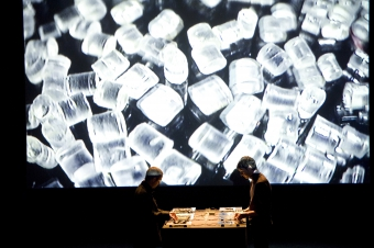 """Picture of """"Untitled Sound Objects"""", performance by Pe Lang + Zimoun"""