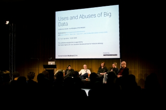 """Picture of Paolo Ciria, Mark Coré, Kate Crawford, Max Hoppenstadt and Jussi Parikka (left to right) at """"Uses and Abuses of Big Data"""""""