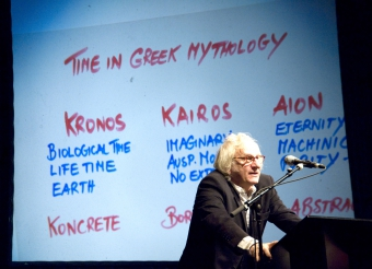 """Picture of Siegfried Zielinski at """"Atemporality - A Cultural Speed Control?"""""""