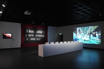 """Exhibition view """"Time and Motion: Redefining Working Life"""", transmediale 2015 CAPTURE ALL."""