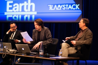 """Picture of Benjamin H. Bratton, Metahaven and Ryan Bishop (left to right) at """"Keynote: The Black Stack"""""""