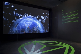 """Contra-Internet by Zach Blas, part of the exhibition """"Territories of Complicity"""" shown at transmediale 2018 face value."""