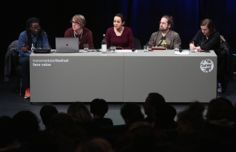 """Impresssion the panel """"The Violent Imagination of Financial Capitalism"""" at transmediale 2018 face value"""
