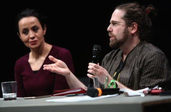 """Amel Ouaïssa (left) and Max Haiven (right) at the panel """"The Violent Imagination of Financial Capitalism"""" at transmediale 2018"""