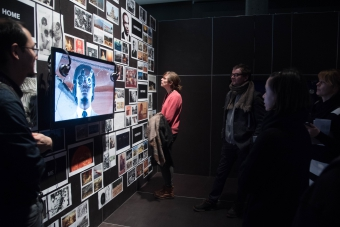 """Guided tour through the exhibition """"Territories of Complicity"""" at transmediale 2018 face value"""