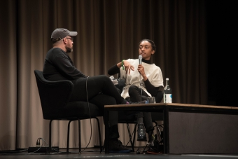 """Zach Blas (left) and Aria Dean (right) at the pdiscussion """"Reimagine the Internet: Affect, Velocity, Excess"""" at transmediale 2018 face value."""
