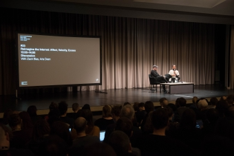 """Zach Blas (left) and Aria Dean (right) at the discussion """"Reimagine the Internet: Affect, Velocity, Excess"""" at transmediale 2018 face value."""