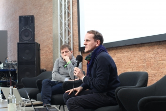 """Dragan Espenschied at the panel """"Growing a Repertoire: The Preservation of Net Art as Resistance to Digital Industrialism"""" at transmediale 2018 face value."""