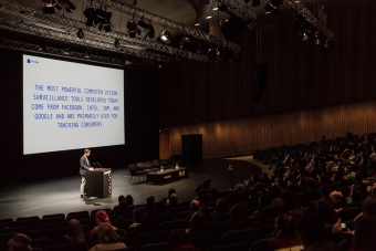 Adam Harvey (VFRAME) during the panel Building Archives for Evidence and Collective Resistance