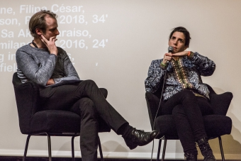 Florian Wüst and Filipa César during the Q&A of Change in Latitude