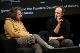 Christos Giovanopoulos and Robin Vanbesien during the Q&A of Under These Words (Solidarity Athens 2016)